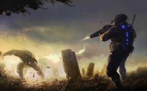 Картинка оружие, монстр, выстрел, развалины, Солдат, схватка