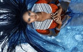 Картинка девушка, макияж, косички, губки, Alessandro Di Cicco, Floe