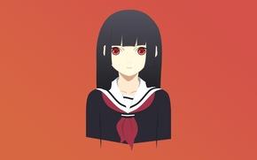 Картинка девушка, аниме, Girl, красные глаза, Anime, школьная форма, Enma Ai, Энма Ай, Girl From Hell, …