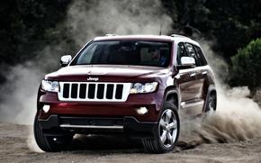Картинка красный, джип, внедорожник, передок, jeep, grand cherokee, занос.пыль, гранд чероки