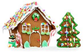Картинка праздник, новый год, печенье, белый фон, домик, снеговик, разноцветное, ёлочка, десерт, сладкое, вкусно, глазурь, пряничный …