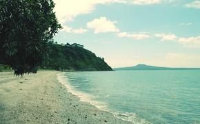 Обои море, пляж, горы