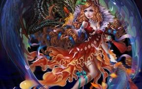 Картинка взгляд, девушка, фантастика, дракон, платье, арт