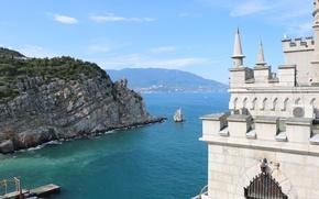 Картинка море, лето, горы, скалы, Крым, Ласточкино гнездо, без обработки