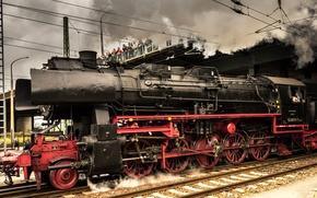 Обои Локомотив, Германия, Поезд, Паровоз, Старая техника