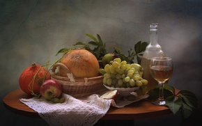 Картинка вино, яблоко, виноград, тыква, натюрморт, дыня