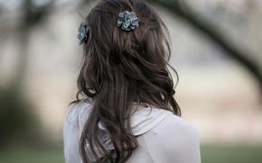 Картинка девушка, настроение, волосы, спокойствие, спина, тишина, утро, прическа, прогулка, наблюдение, оливия белл