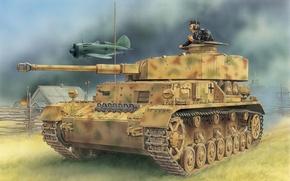 Обои самолет, вермахт, панцер 4, деревня, средний танк, рисунок, Panzerkampfwagen IV, И-16, T‑IV, Pz.Kpfw.IV Ausf D