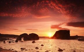 Картинка beach, rocks, morning, sunsrise