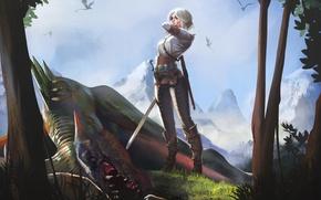 Картинка девушка, меч, арт, The Witcher, Цири, Цирилла