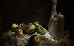 Картинка ретро, ваза, фрукты, натюрморт, винтаж