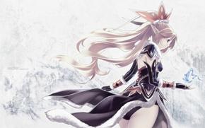 Обои арт, hirano katsuyuki, девушка, магия, эльф