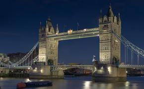 Обои ночь, река, обои, лодка, Англия, Лондон, Великобритания, Темза, wallpaper, Тауэрский мост, Tower Bridge, столица, ГОРОД, ...