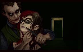 Обои Нож, Джокер, Страх, Харли Квинн