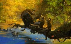 Картинка осень, озеро, ветка, эльфы, WoW, World of Warcraft, листопад, таурен, рисуют