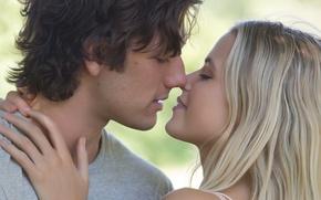 Обои Love, Girl, the, Wallpaper, Blonde, Boy, Year, Kiss, Lips, Kissing, Movie, Film, 2014, Hair, Hands, ...