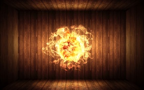 Картинка огонь, доски, шар