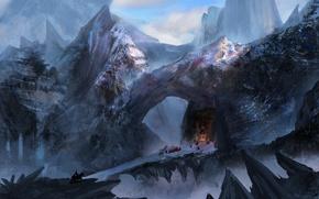 Картинка холод, снег, мост, люди, скалы, арт, храм, всадник, плащи