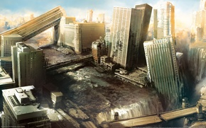 Обои небоскребы, апокалипсис, Город, i am alive, разрушения, руины