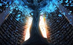 Картинка листья, дерево, арт, ствол, стеллажи, книги. свет