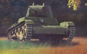Картинка война, рисунок, арт, танк, советский, лёгкий, танка, основе, создан, Т-26, 1930году, «Виккерс, английского, Mk.E», закупленного