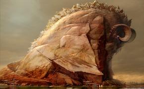 Картинка озеро, отражение, гора, дома, Дракон, яхта, art by Tinfoil