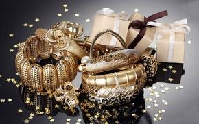 Картинка украшения, золото, кольцо, лента, браслеты, коробки