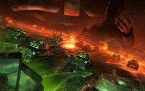 Картинка бой, сражение, танки, самолёты, World of Tanks, Generals, World of Tanks: Generals