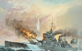Картинка море, огонь, дым, рисунок, арт, выстрелы, линейный корабль, морской бой, WW2, линкором «Бисмарком, «Кинг Джордж ...