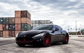 Картинка Maserati, wheels, black, GranTurismo, with, Vossen, exterior, painted, lowered, and red, accents and