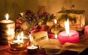 Картинка свечи, подарки, коробочки