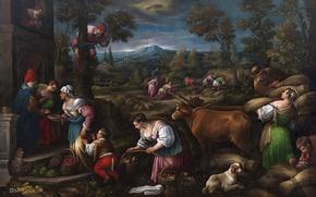 Картинка животные, пейзаж, горы, люди, картина, Май, жанровая, Франческо Бассано