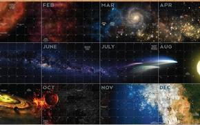 Картинка звезды, туманность, вселенная, млечный путь, календарь