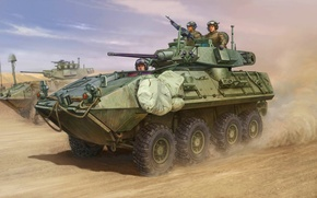 Картинка painting, armored vehicule, LAV-A2, war, art