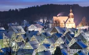 Картинка зима, крыша, пейзаж, огни, дома, вечер, Германия, Северный Рейн-Вестфалия, Фройденберг