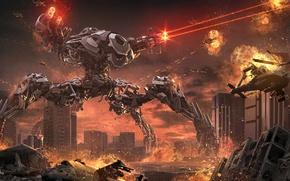 Картинка город, фантастика, огонь, робот, разрушение, вертолет, руины, киберпанк, мегаполис