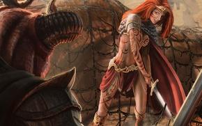 Картинка девушка, сетка, узор, монстр, меч, тату, арт, рога, рыжая, диадема, Jon Hrubesch