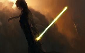 Картинка облака, Девушка, костюм, световой меч