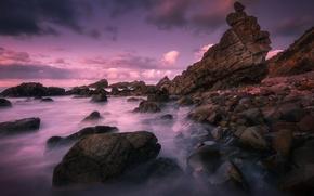 Картинка море, небо, облака, пейзаж, закат, камни, скалы, обои от lolita777