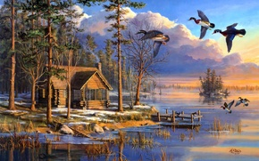 Обои house, forest, flying, lake, sunrise, painting, spring, Mary Pettis, ducks, Spring Arrivals