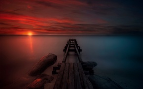 Картинка море, небо, пейзаж, пристань, вечер