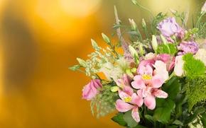 Обои фон, розы, букет, бутоны, эустома