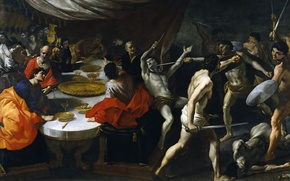 Картинка картина, Джованни Ланфранко, Бои Гладиаторов на Банкете