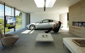 Обои машина, дом, комната