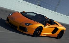 Картинка скорость, трасса, roadster, LP700-4, ламборгини, авентадор, Lamborghini Aventador