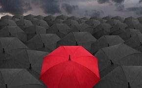 Картинка red, black, umbrella, зонтики