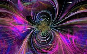 Картинка волны, линии, абстракция, полосы, графика, фигура, фрактал, тоннель