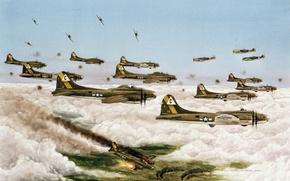 Картинка небо, город, рисунок, Германия, Дрезден, арт, самолёты, налёт, Вторая мировая война, массовый, 1945год, В-17