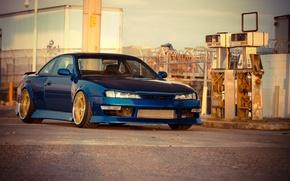 Картинка Silvia, Nissan, синяя, ниссан, blue, сильвия, S14, бензозаправка