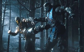 Картинка лес, ночь, меч, ниндзя, Scorpion, ninja, Sub-Zero, Mortal Kombat X